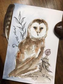 Day 17 - Owl Spirit Animal - watercolor ©CarolinaRusso