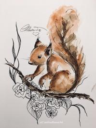 Day 3 Playful Squirrel - Watercolor ©CarolinaRusso