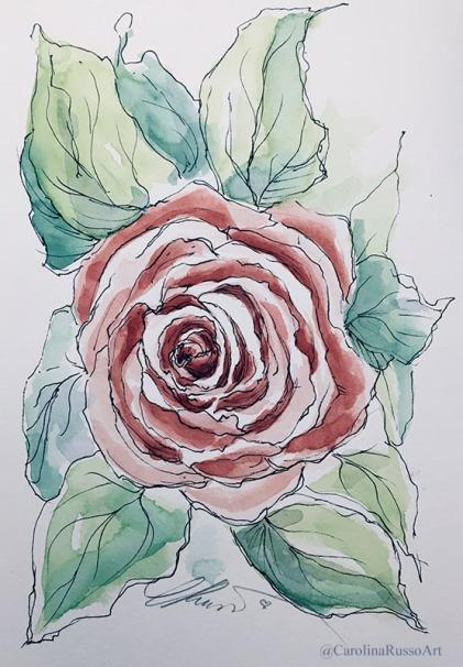 Day 31 - Rose - Watercolor ©CarolinaRusso